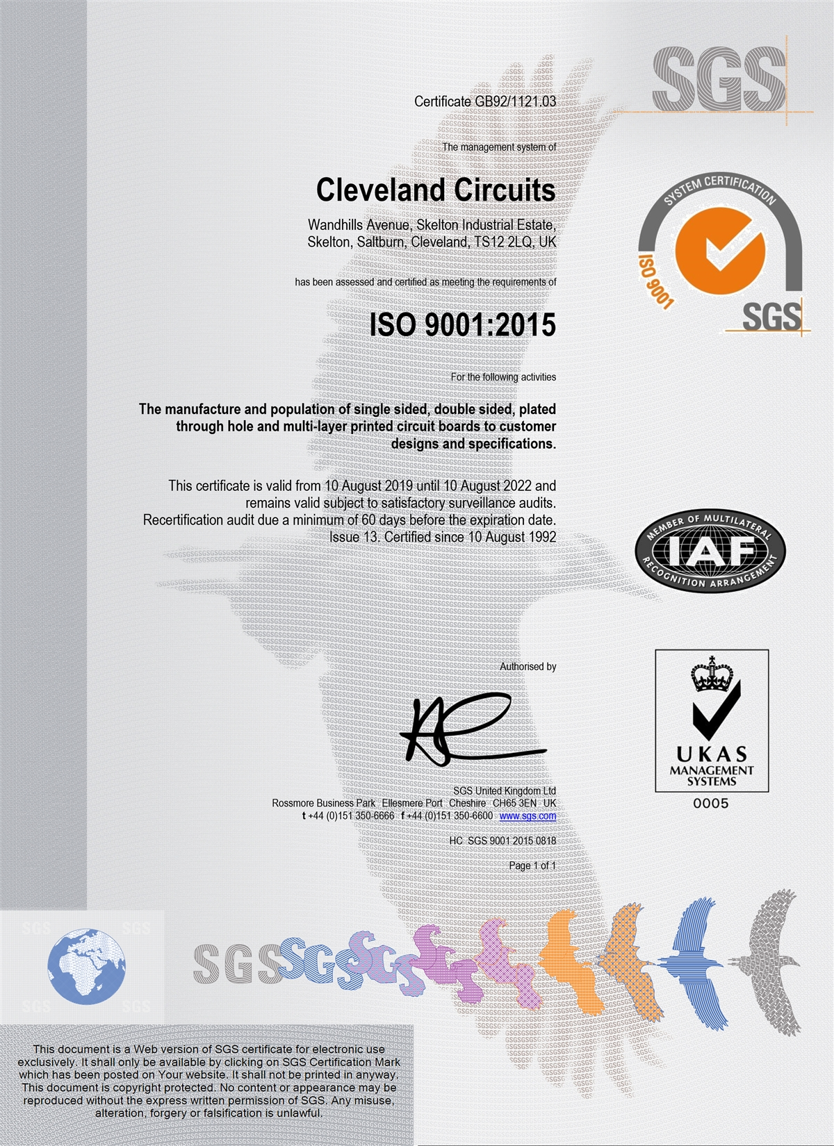 Cleveland Circuits ISO9001/2015 certificate