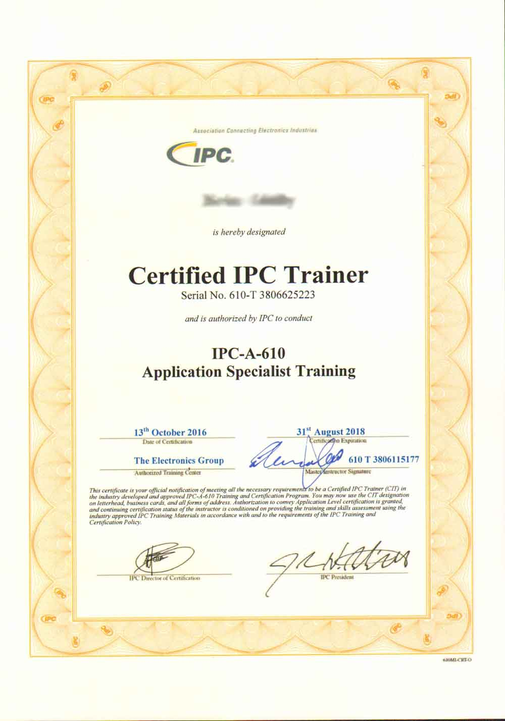 Cleveland Circuits Ipc A 610 Certification