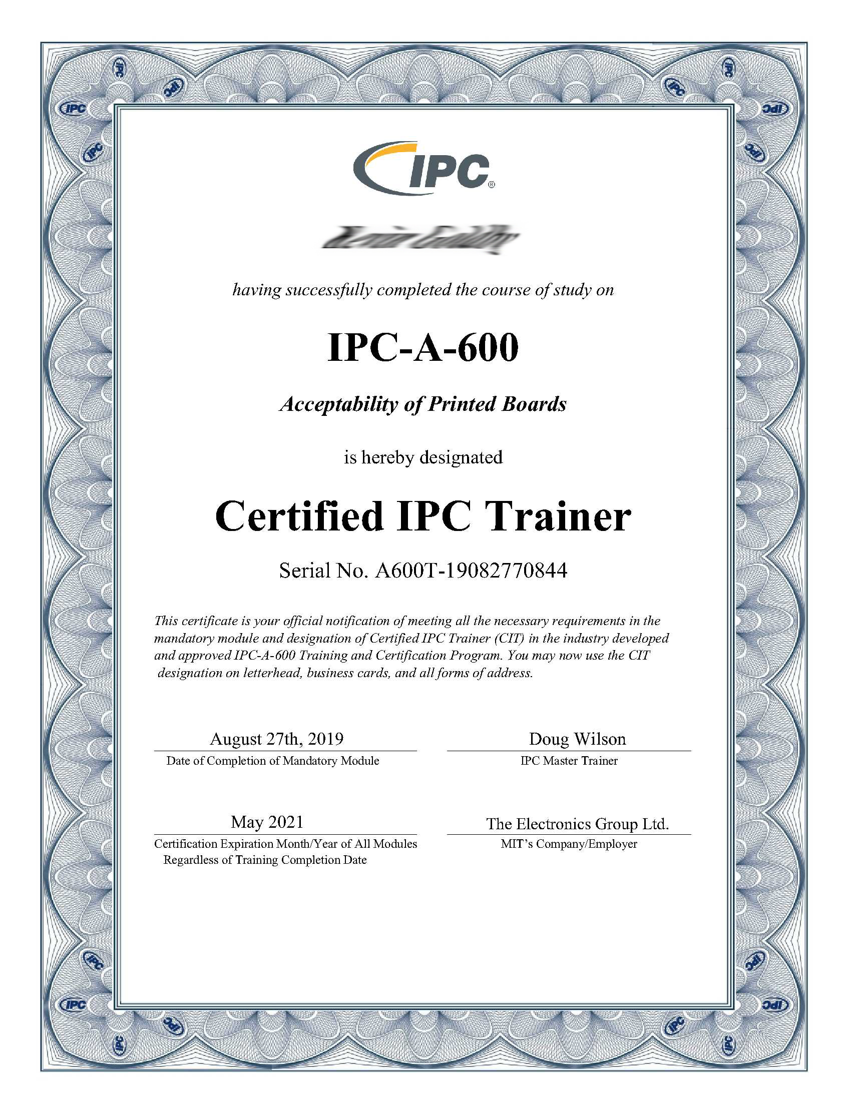 Cleveland Circuits IPC-A-600 Certificate
