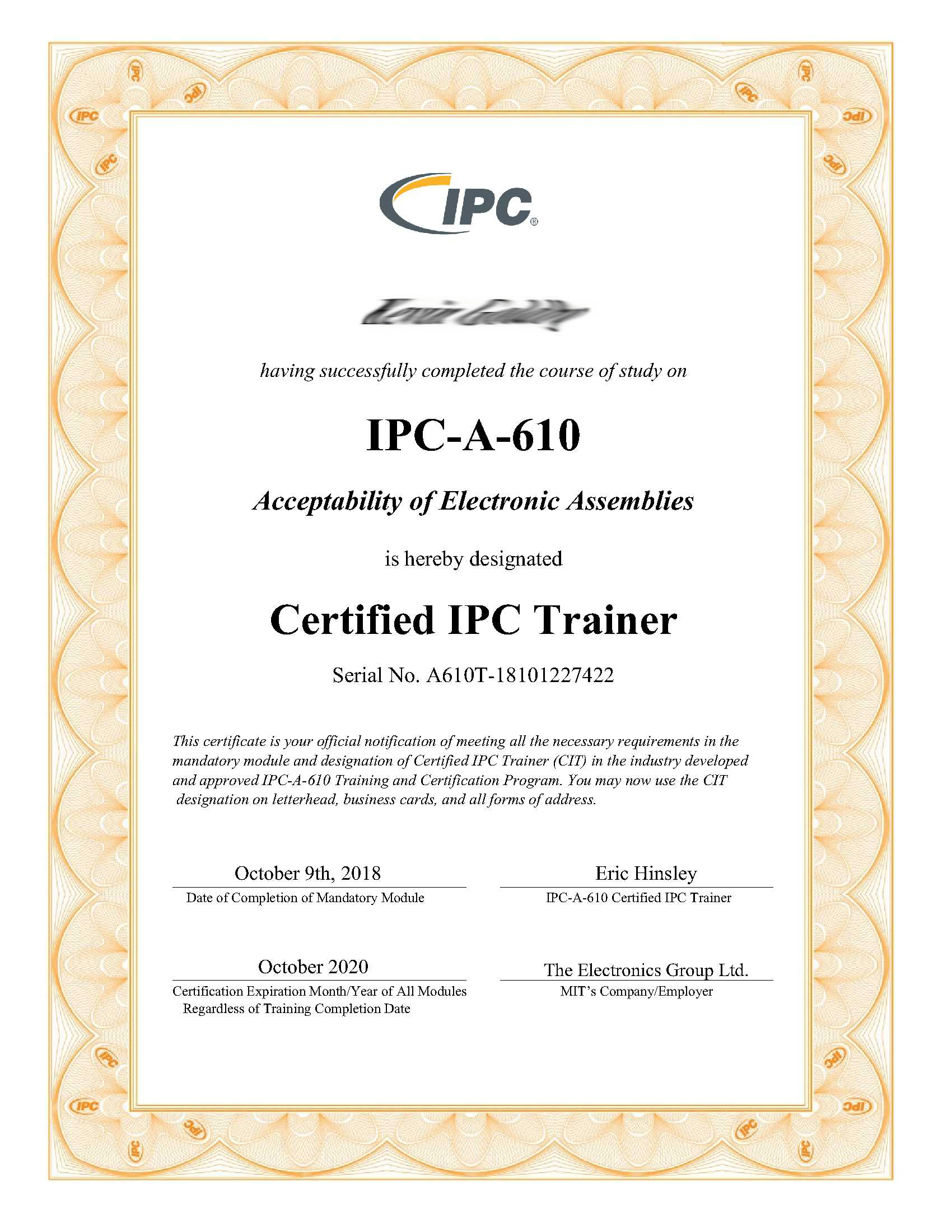 Cleveland Circuits IPC-A-610 Certificate