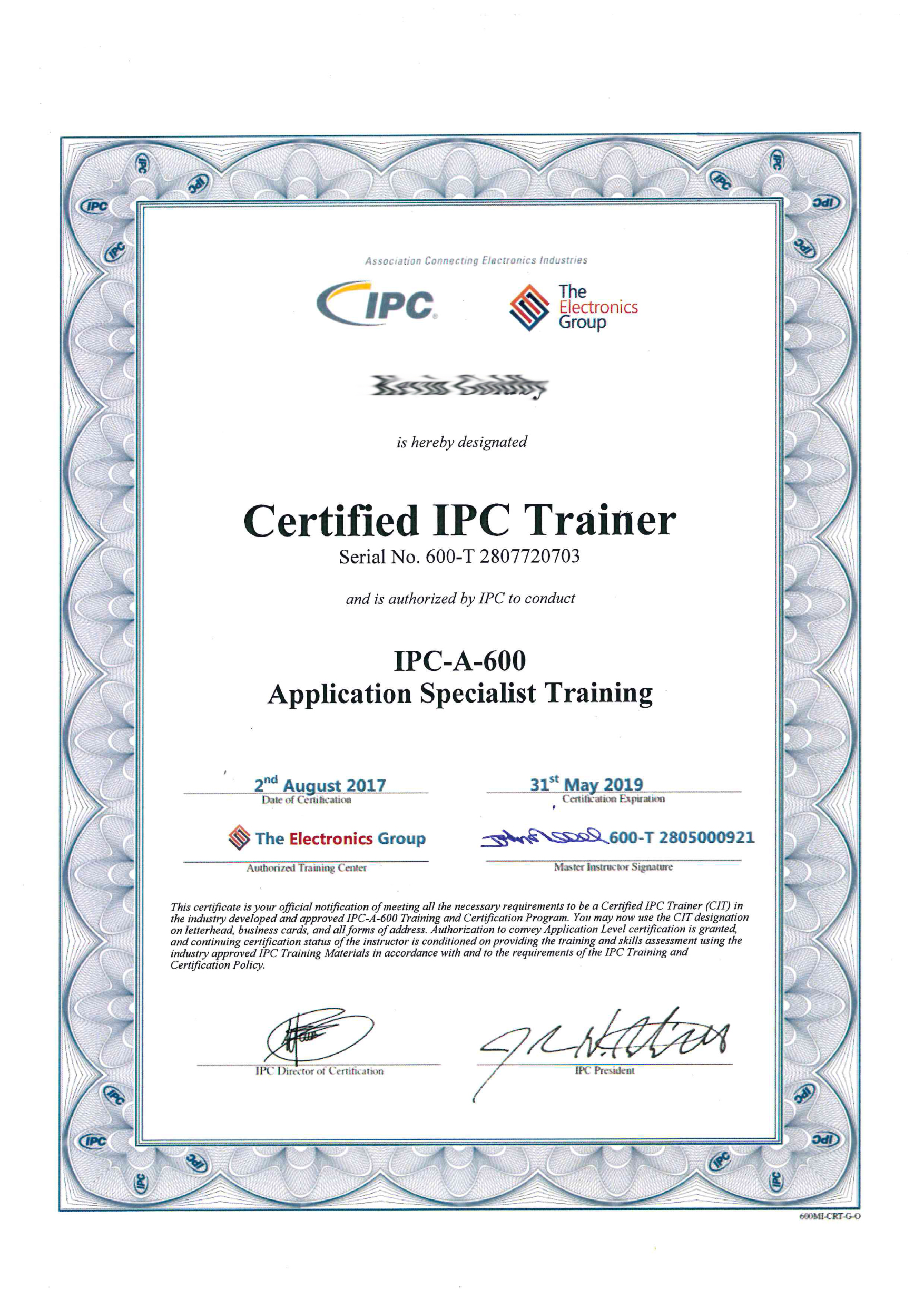 Cleveland Circuits Ipc A 600 Certification